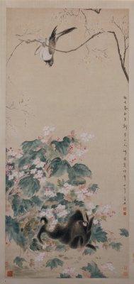 《海棠禽兔图》轴,清,华嵒作,纸本,设色,纵135.2厘米,横52.8厘米。