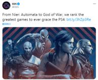 IGN评PS4最佳游戏Top25 《战神4》第一,《美末2》第二