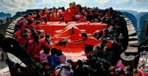 """著名画家王沂东以""""沂东红""""描绘""""太行喜事"""",表现乡土文化中""""天、地、人""""的圆满融合"""