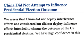 美最高情报机构:中国并未干预美国大选