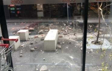 澳大利亚地震现场:碎石满地