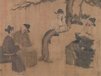 五代 周文矩 《琉璃堂人物图》卷 绢本 设色