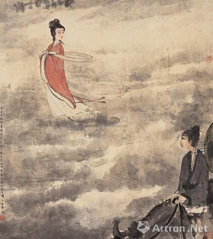 傅抱石甲申(1944年)作 《七夕》 立轴 设色纸本 61.3×54cm