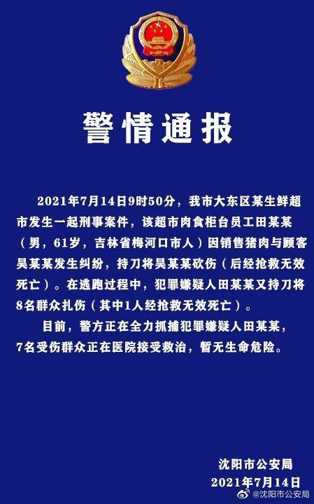 沈阳发生持刀伤人案致2死7伤 警方通报
