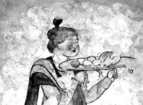 唐代房龄公主墓托果盘仕女图壁画