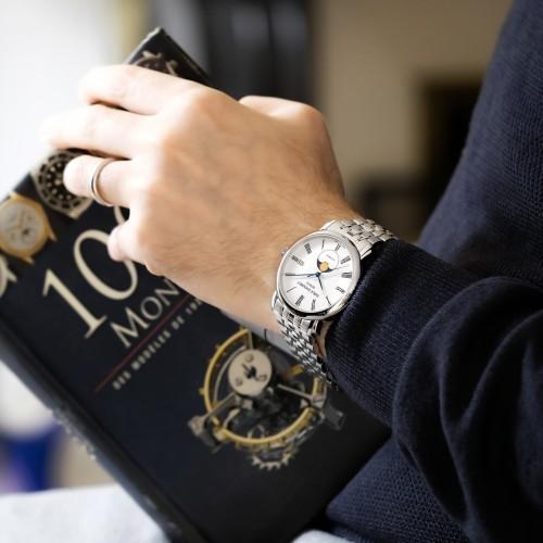 瑞士艾米龙莱蒙系列月相手表 采用独特的透底设计