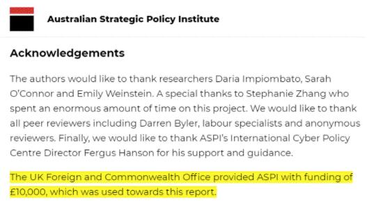 """""""ASPI报告""""由英国外交部资助(图源:""""灰色地带""""网站)"""