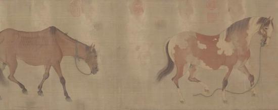 (元)任仁发 二马图 绢本设色 142.7×28.8cm 北京故宫博物院藏