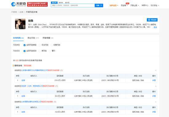 趙薇被凍結股權 涉多家公司數額達272萬
