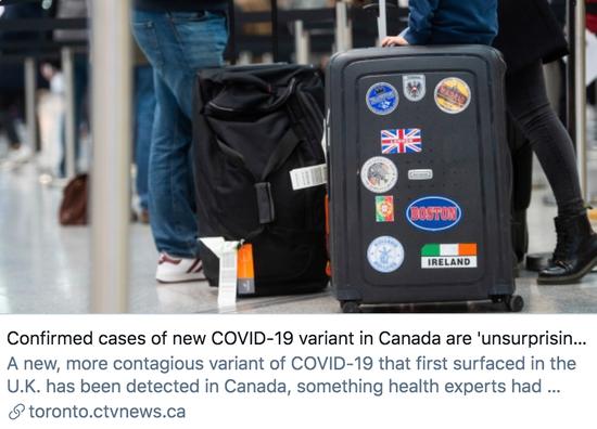 """公共卫生专家表示,加拿大出现变异新冠病毒的确诊病例""""不足为奇""""。/加拿大电视网""""CTV""""报道截图"""