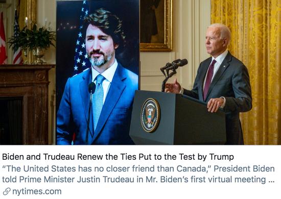 拜登和特鲁多恢复了被特朗普影响的美加关系。/《纽约时报》报道截图