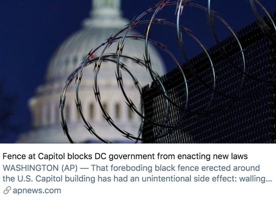 国会大厦的围栏阻碍特区政府颁布新法律。/美联社报道截图