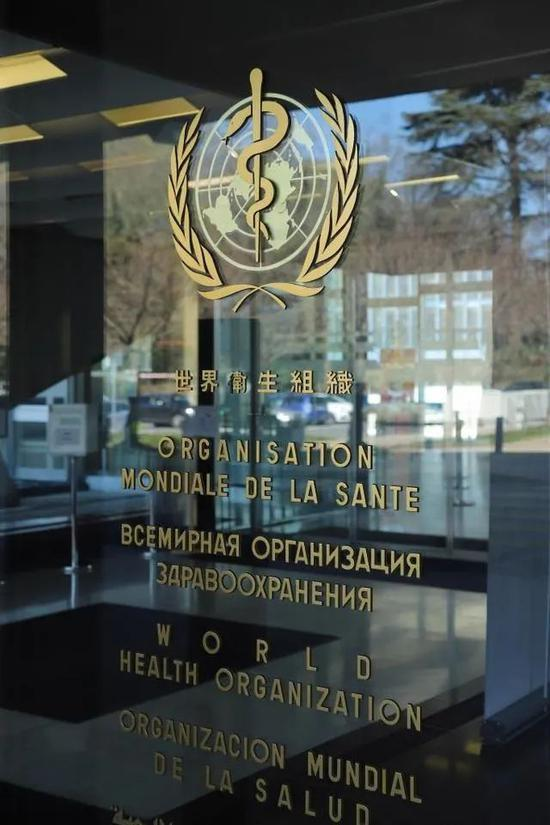 ▲这是3月30日在瑞士日内瓦拍摄的世界卫生组织总部办公大楼的入口。(新华社)