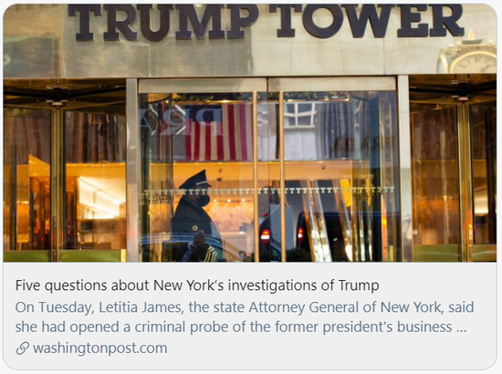 5问纽约检方对特朗普的调查。/《华盛顿邮报》报道截图