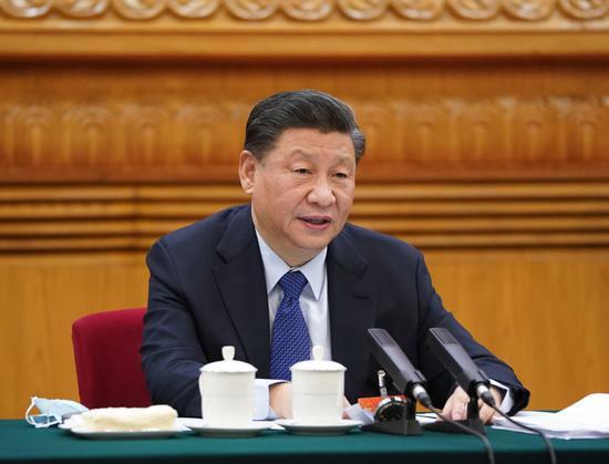 ↑2021年3月7日,习近平参加十三届全国人大四次会议青海代表团审议。