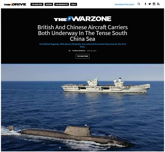 英军航母编队进入海,美媒:中英航母都在南海