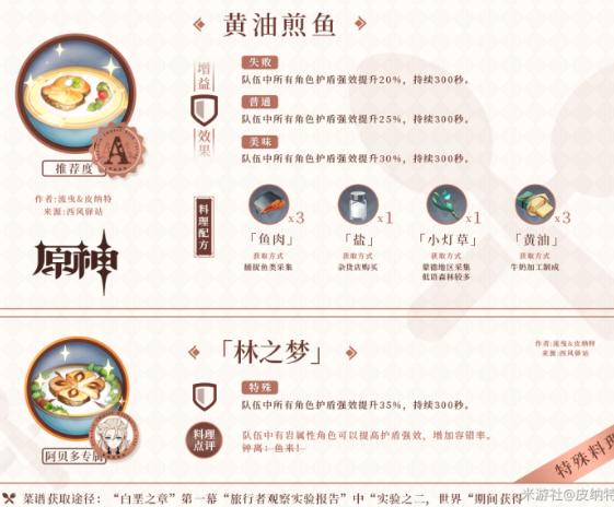 原神1.2版本四个新增料理食谱获取攻略大全