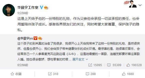 华晨宇:双方将在无婚姻关系前提下抚养孩子