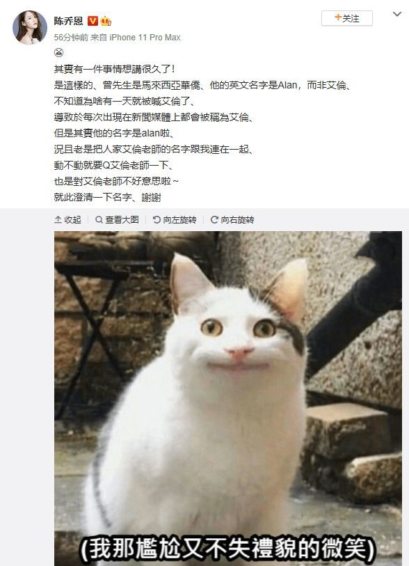 """陈乔恩被传婚讯未否认 还为男友""""正名"""":他叫Alan"""