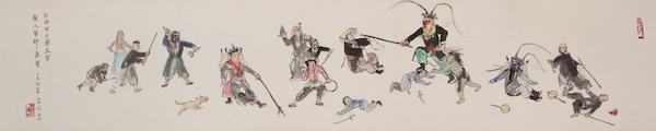 关良 《孙悟空大闹天宫图》纸本水墨设色手卷 34×138cm 1977年