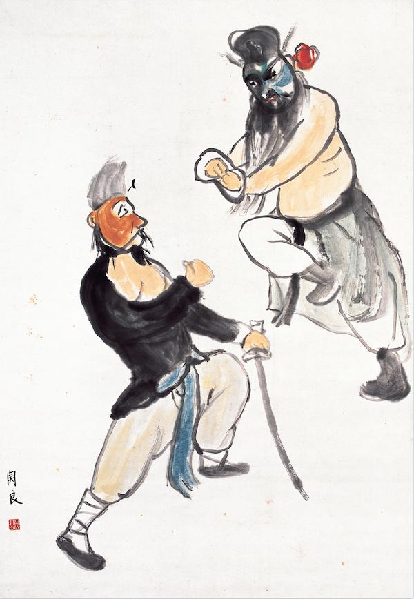 关良 《京剧人物图轴》 年代不详 93cm×64cm 广州艺术博物院藏