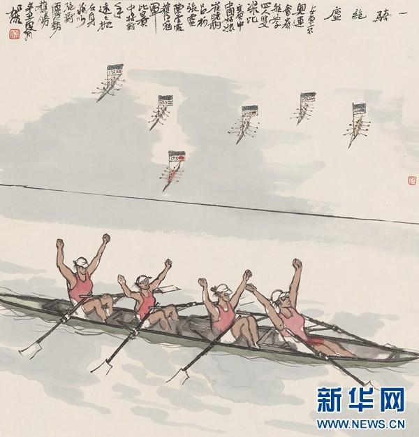 何加林为东京奥运会冠军陈云霞、张灵、吕扬、崔晓桐作画