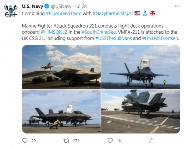 美国海军推特截图