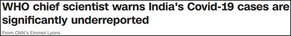 世卫首席科学家:印度实际感染人数可能高达5亿