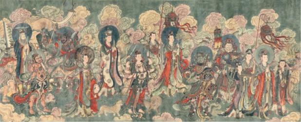 工笔重彩绢地:宝松临摹北京《法海寺壁画长卷》之一(1978-1982年)