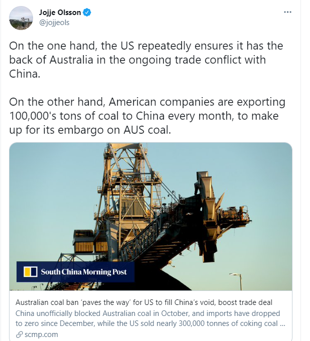 澳大利亚在前面跟中国死磕却被美国捅刀