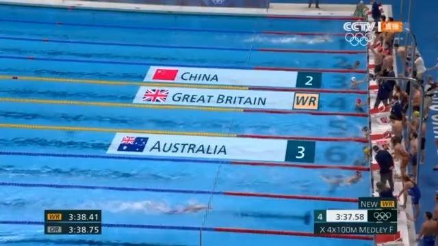 中国队男女混合泳接力摘银