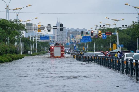 """台风""""烟花""""导致扬州城区多处内涝"""