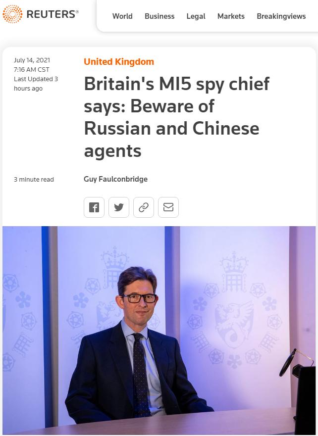 """英国间谍头子大喊""""警惕中国间谍"""" 评论区精彩了"""