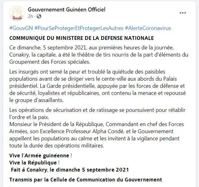 各执一词!几内亚政府称已击退叛军