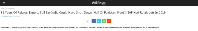 阵风首飞35周年,印媒吹嘘能击落半数巴基斯坦战机