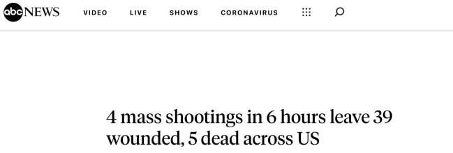 全美6小时内发生4起大型枪击案,致5死39伤
