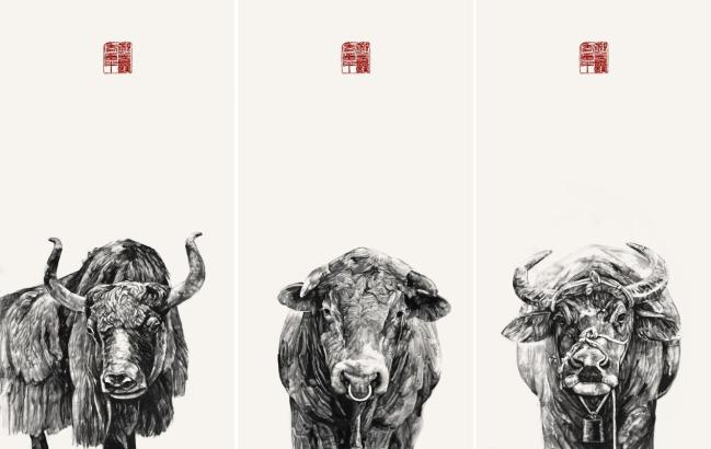 """雄犄顶破九重天,金牛奋蹄正小满 ——青年画家刘扬以""""新水墨""""描绘""""三牛精神"""""""