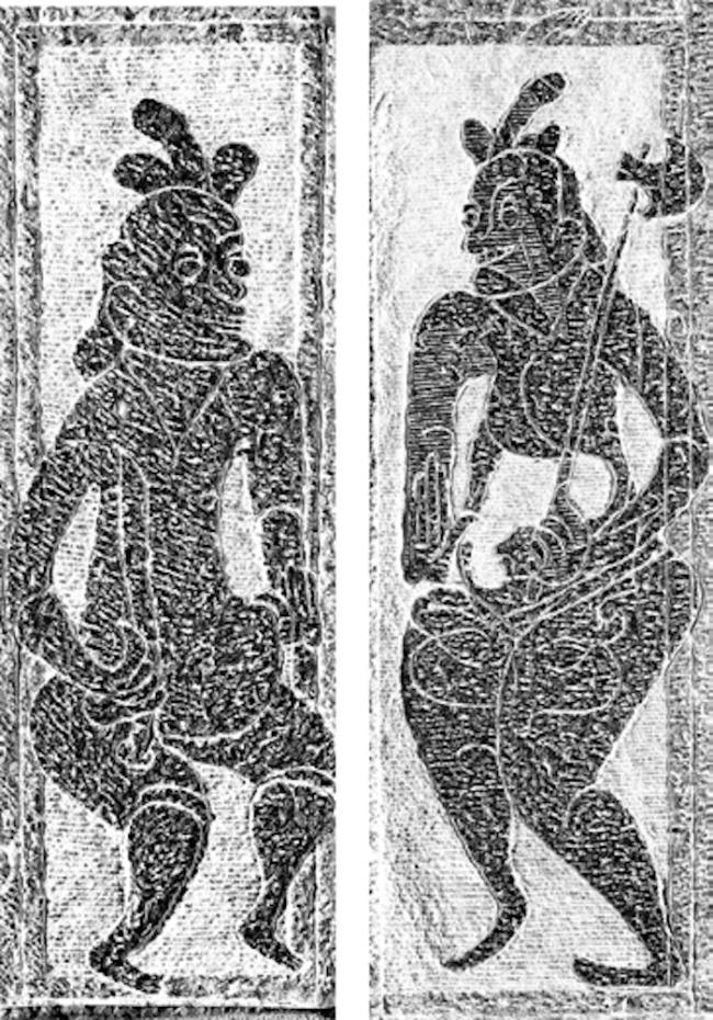 南阳汉代画像石中守门神形象。