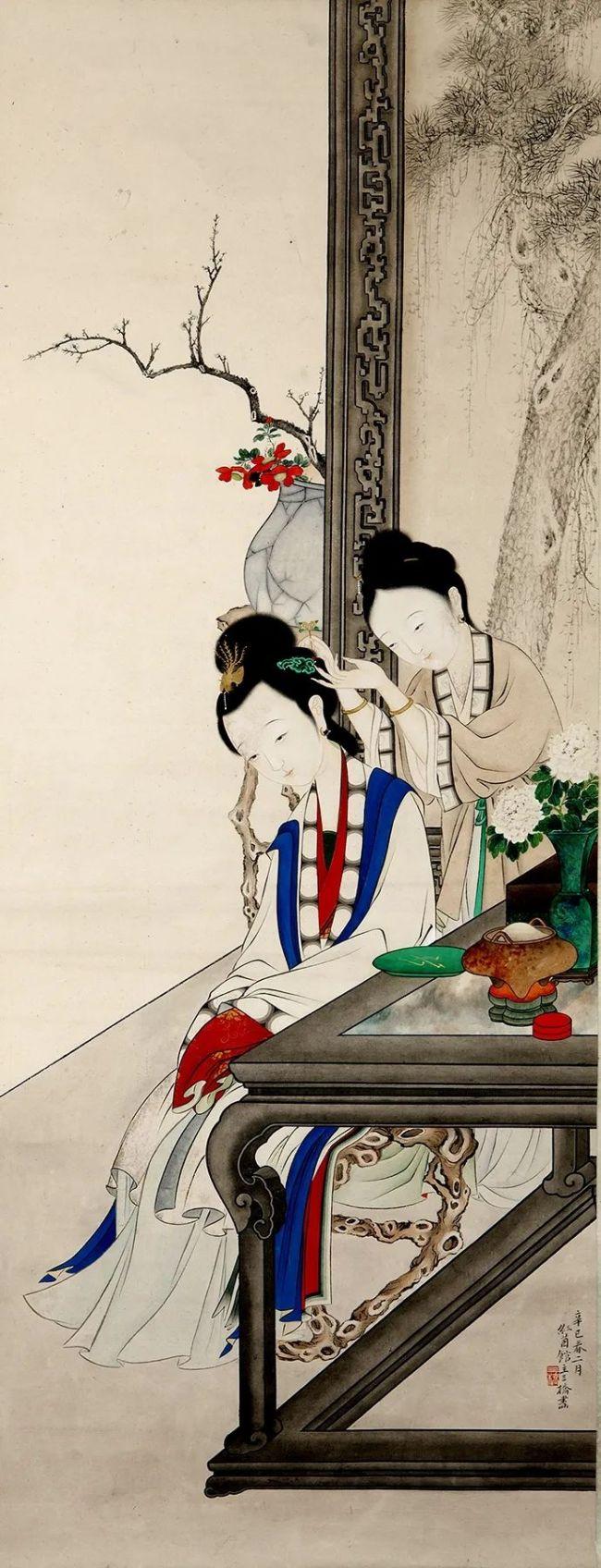 清 胡锡珪《梳妆仕女图》苏州博物馆藏