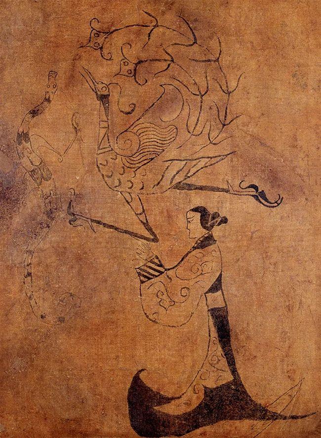 战国《人物龙凤帛画》湖南省博物馆藏