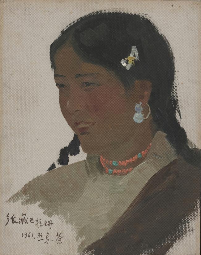 吴冠中,《西藏女乡长》,1961年