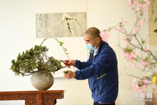 4月5日,燕赵插花艺人赵煜在河北省石家庄市植物园插花艺术工作室创作。新华社发(陈其保 摄)