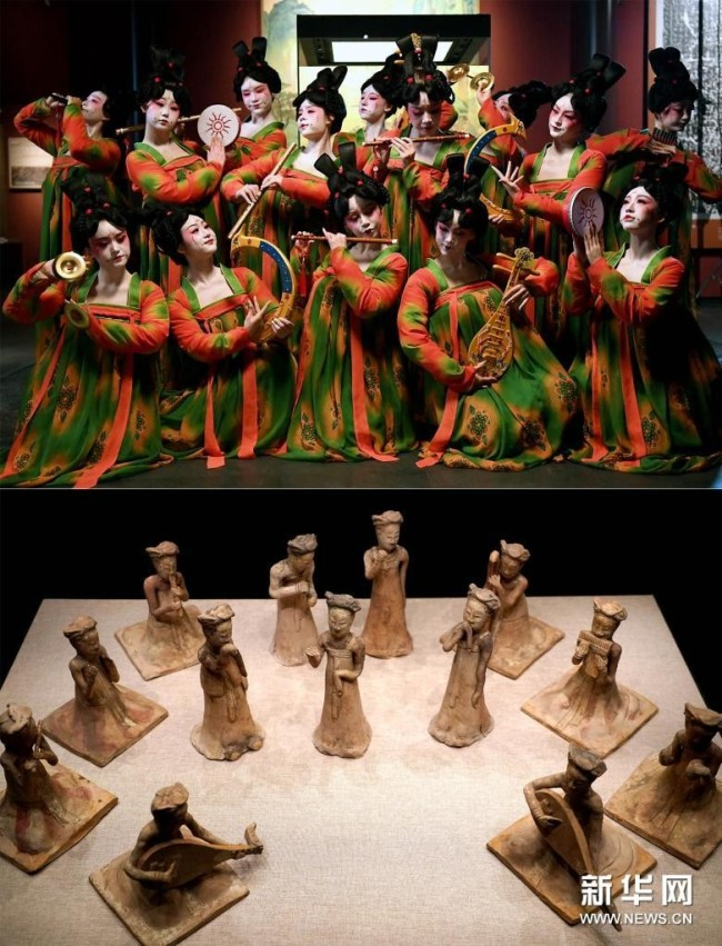 拼版照片:上图为郑州歌舞剧院的演员在录制河南博物院元宵奇妙夜节目(2月20日摄);下图为河南博物院主展馆内展出的展品(2020年9月24日摄)。新华社记者 李安 摄