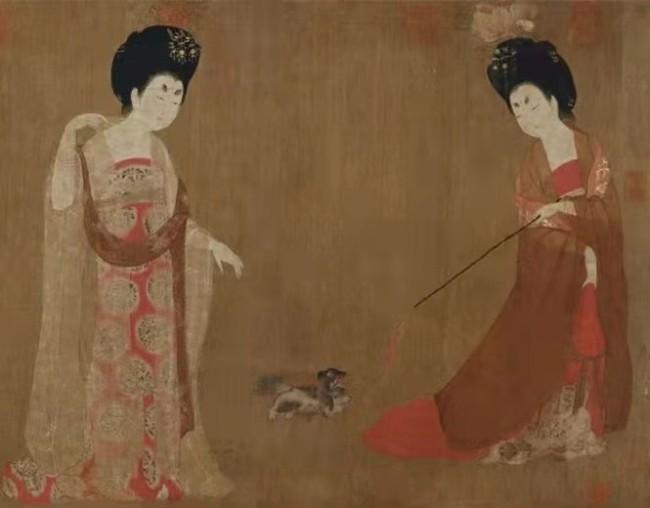 唐·周昉《簪花仕女图》里的狮子狗 辽宁省博物馆藏