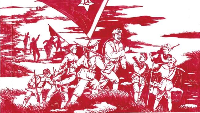 """▲任智需""""献礼中国共产党100周年——百年百幅巨幅剪纸""""之《红军过草地》"""