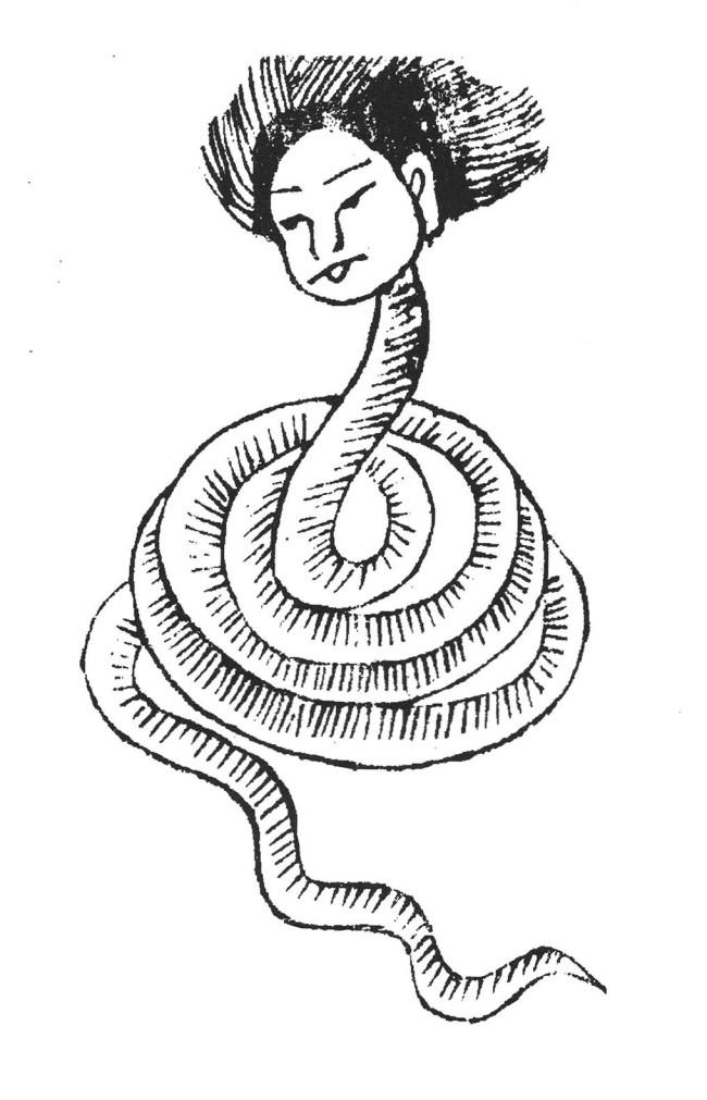 人首蛇身神,清刻本《山海经绘图广注》。