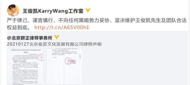 王俊凯被某女总监威胁造谣 王俊凯工作室律师声明:维权到底