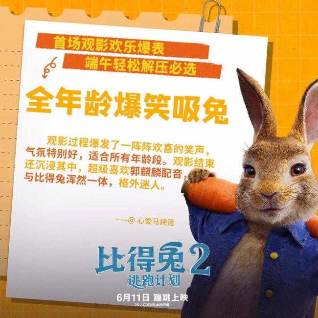 《比得兔2:逃跑计划》提前观影获好评 大V打call