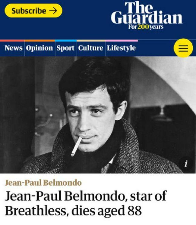 传奇演员让保罗贝尔蒙多去世 法国总统等发文悼念