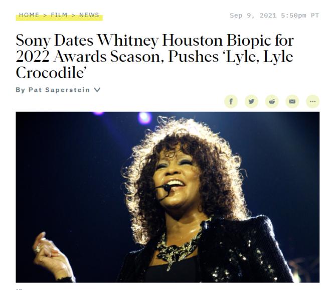惠特妮·休斯顿传记定档 预计明年感恩节前后播出